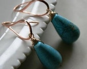 END OF YEAR Clearance  - Esmeralda Earrings - Magnesite, Rose Gold Earwires