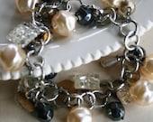 The Astor Bracelet - Vintage Glass Buttons, Vintage Pearls, Hematite, Sterling Silver