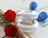 WEEDING OUT SALE - Majorette Earrings - Vintage Lucite, Glass and Oxidized Sterling Silver