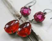 Vintage Glass Cabochons and Sterling Silver - Hyacinth Fuschia JEWEL