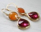 Hot Pink, Orange Quartz and Gold - Ella Earrings