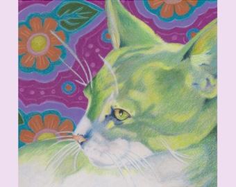 Modern Green Cat Print