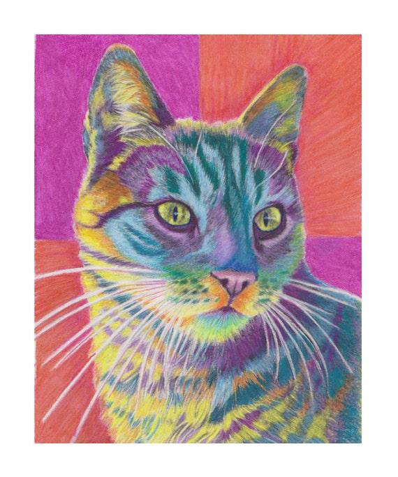 Funky Tiger Cat Print