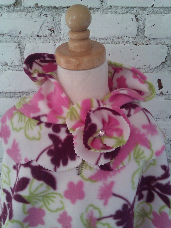 Floral Pink, Lime & Maroon Poncho w/Hoodie Size 5 / 6