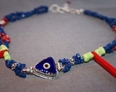 SALE-Lapis, Red Coral, Green Turquoise, Authentic Turkish Evil Eye, Sterling Silver Special Design Necklace