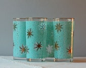 set of 4 teal and gold starburst drinking glasses