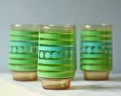 set of 4 vintage green stripes drinking glasses