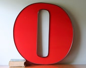 Large vintage red letter O / office nursery home decor / wall hanging