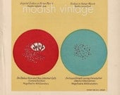 Antique 1914 medical ephemera / bacteria / cholera germ/ blue red colorful /wall decor
