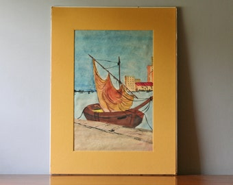 boat painting original watercolor blue and ochre