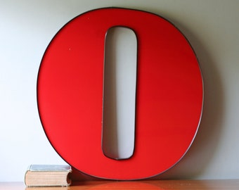 Large vintage red letter O - office nursery home decor - wall hanging