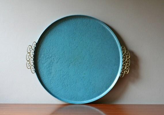 Large Round Vintage Light Blue Metal Tray