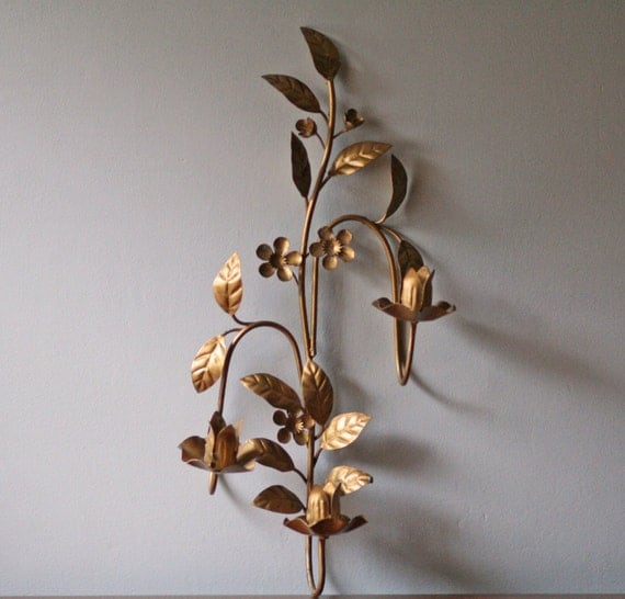 Floral Metal Wall Sconces : vintage floral metal wall sconce three arm candle holder
