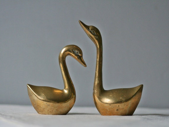 reserved for Fiona.....brass swan figures / vintage decor