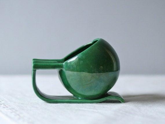 vintage green ceramic ashtray