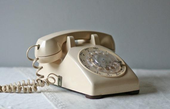 vintage rotary phone - creamy white