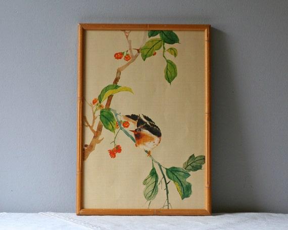vintage bird on a branch print