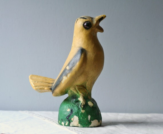 reserved.....large vintage yellow bird figure