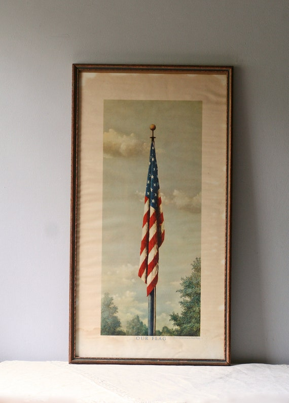 Vintage Litho Of American Flag Framed