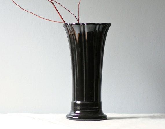 black glazed Fiesta flower vase