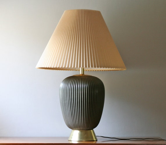 midcentury modern dark green pottery table lamp