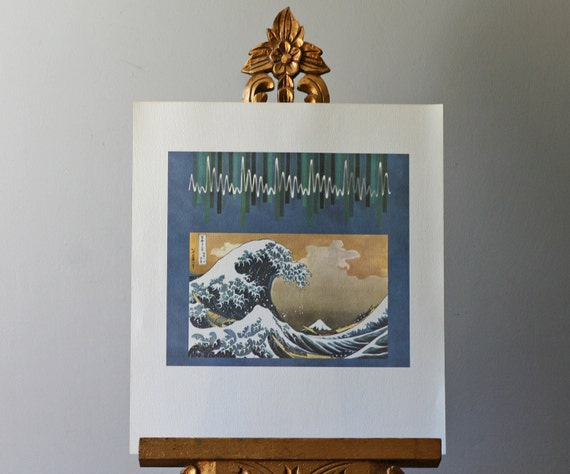 modern lithograph to frame 1960s Seattle Worlds Fair Science Exhibit abstract litho great wave