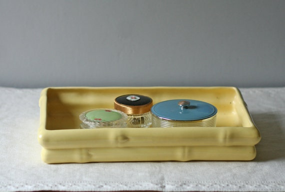 yellow ceramic vanity tray / bamboo pattern
