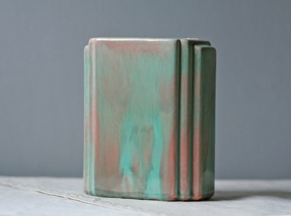 deco glazed pottery vase / seagreen pink