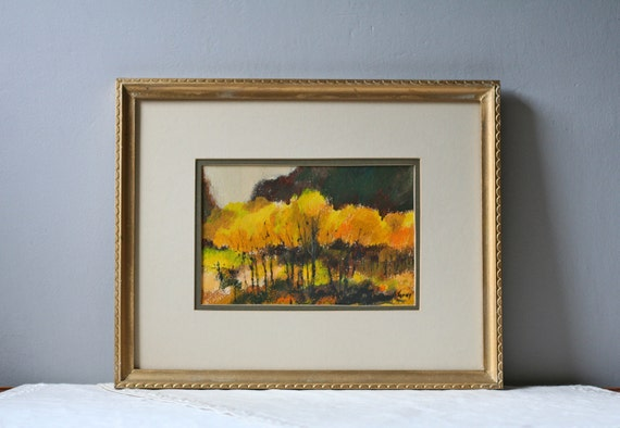 vintage original painting with yellow colors autumn golds trees