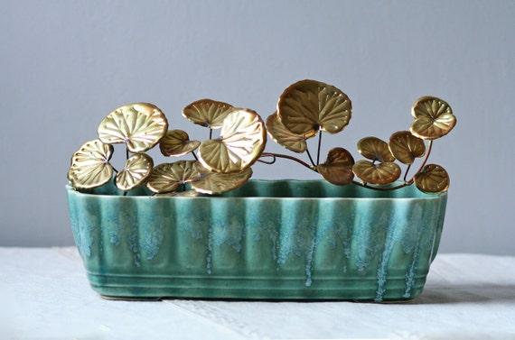green glazed USA pottery vase planter / desk accessory