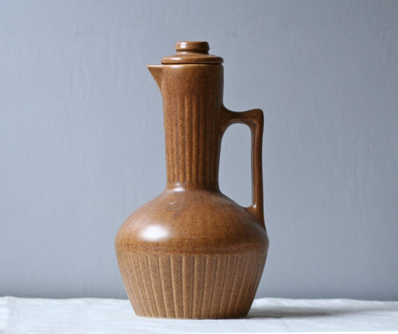 modern brown pottery coffee pot / decanter
