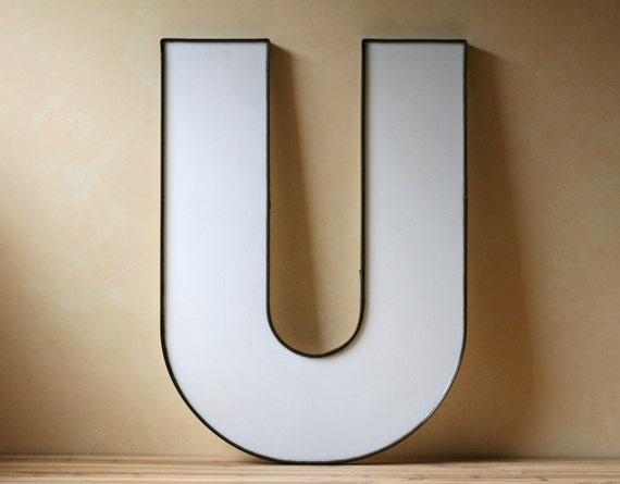 white plastic alphabet letter U initial for wall decor