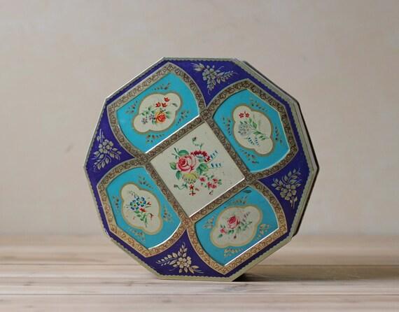 vintage decorative round storage tin