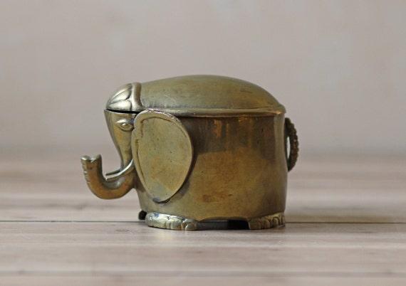 vintage solid brass elephant lidded box
