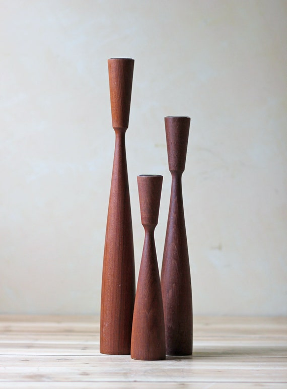 set of 3 modern teak candlesticks