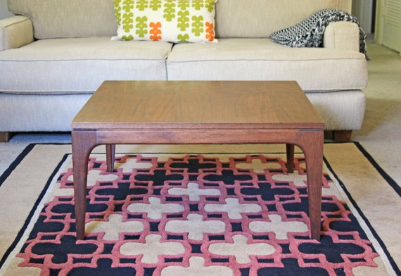 modern square teak coffee table