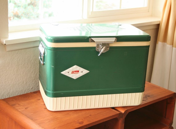 Vintage Green Metal Coleman Cooler With Diamond By