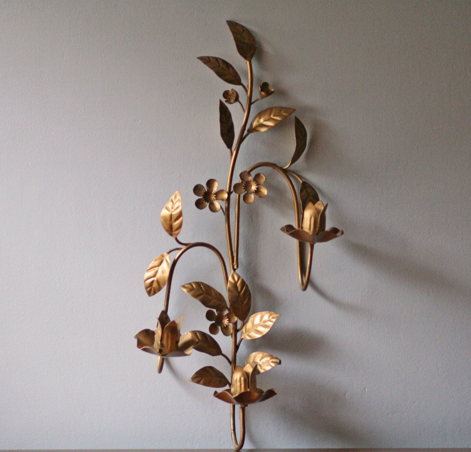 vintage floral metal wall sconce three arm candle holder