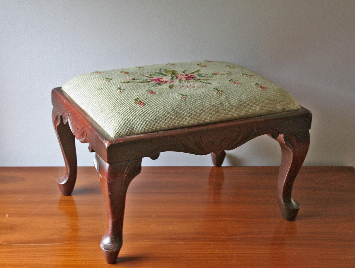 Vintage Needlepoint Footstool