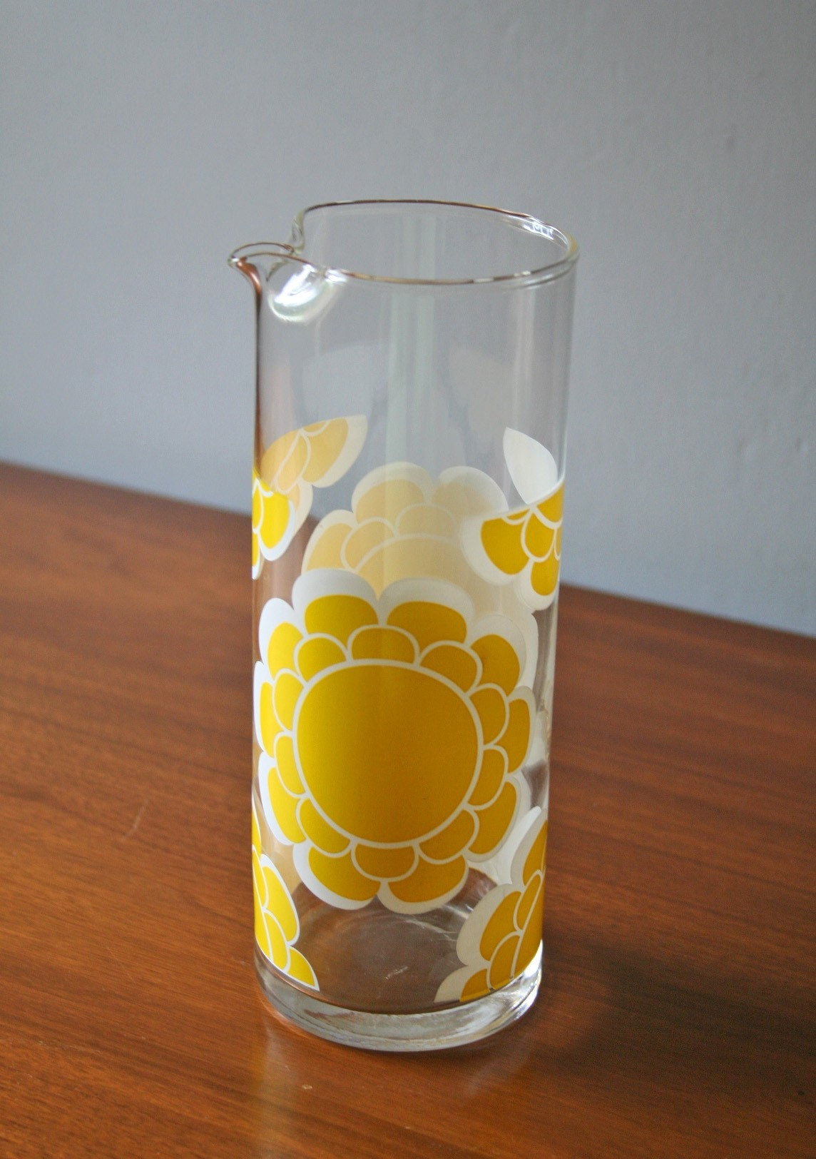 Vintage Yellow Flower Drinking Glasses And By Modishvintage