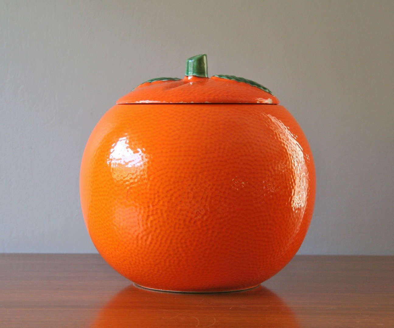 Large Vintage Ceramic Orange Canister Or Cookie Jar