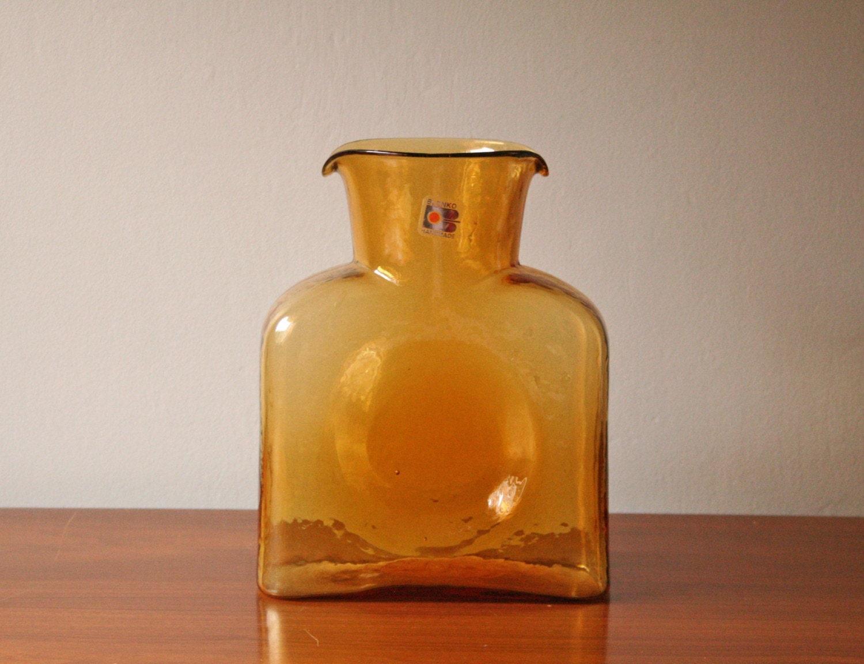 Vintage Amber Blenko Art Glass Decanter Vase