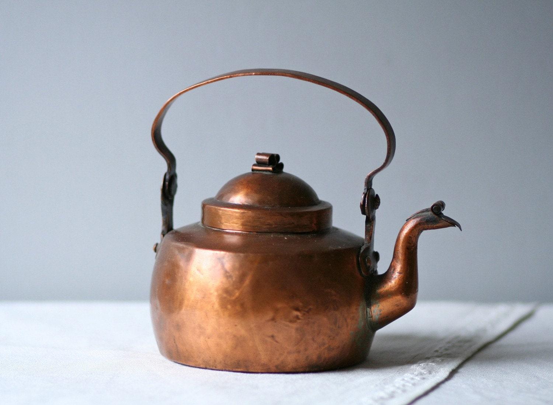 Antique Skultuna Swedish Copper Metal Tea Kettle By