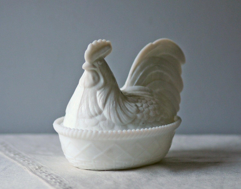 Vintage Nesting Hen Milkglass Salt Cellar Large