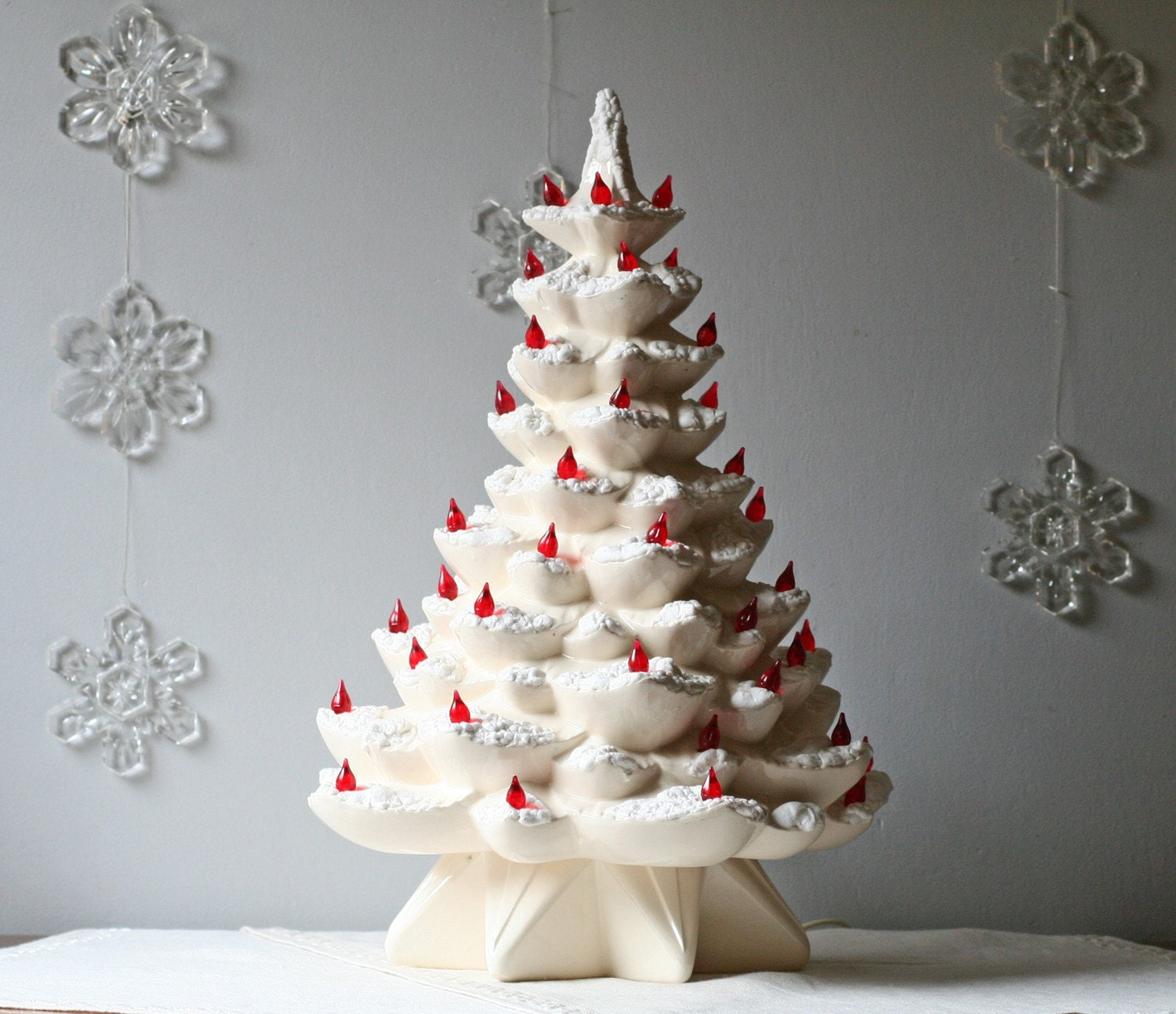 Vintage 1960s White Ceramic Christmas Tree
