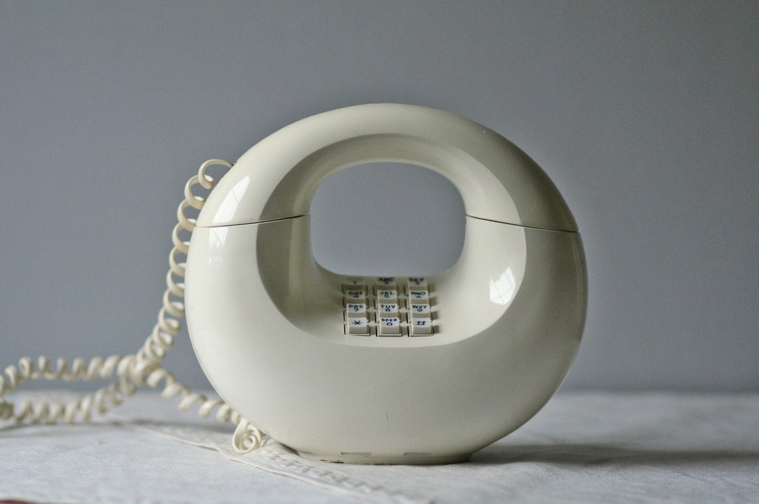 Vintage Push Button Phone White