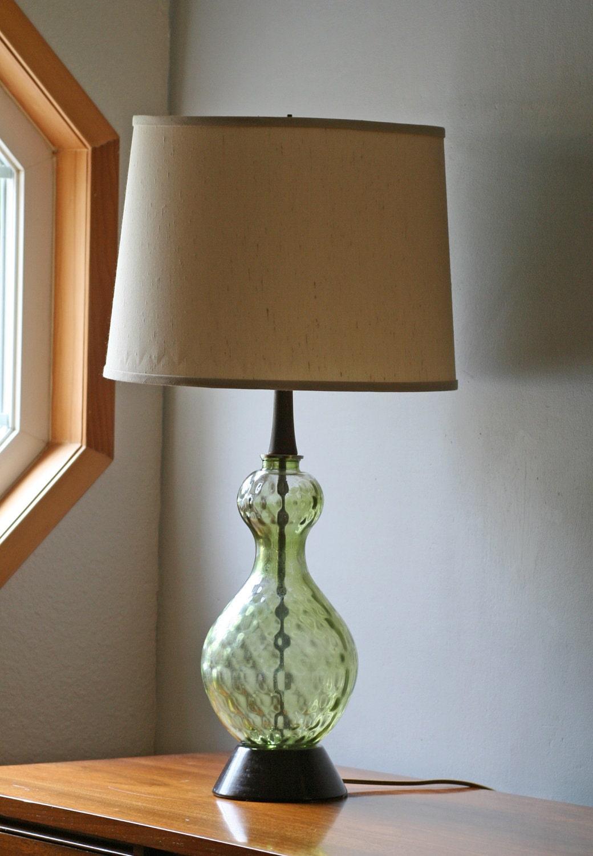 vintage green glass table lamp. Black Bedroom Furniture Sets. Home Design Ideas