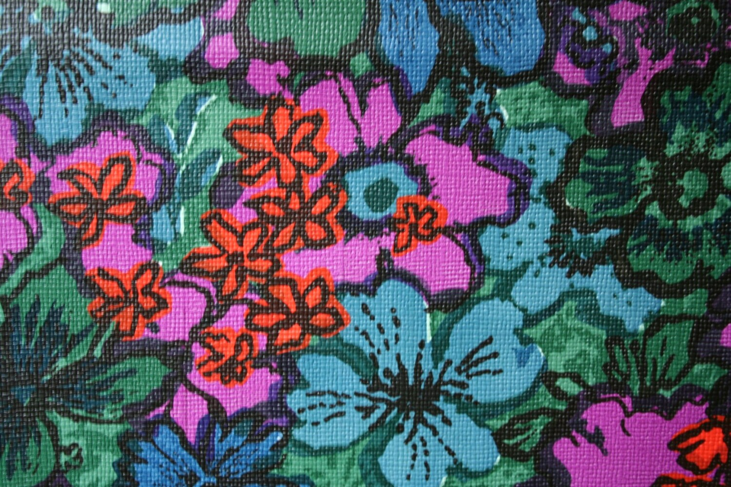 Vintage Vinyl Upholstery With Blue Green Pink Floral Pattern