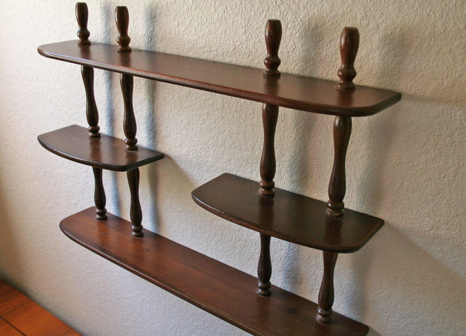 Vintage Solid Wood Wall Curio Display Shelf Mahogany Finish