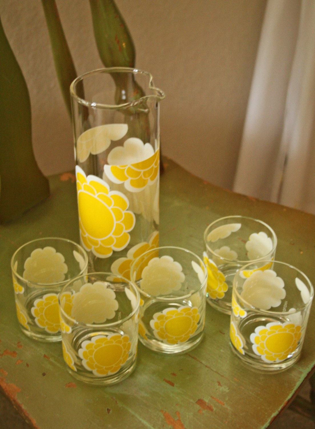 Vintage Yellow Flower Drinking Glasses And Decanter Set In